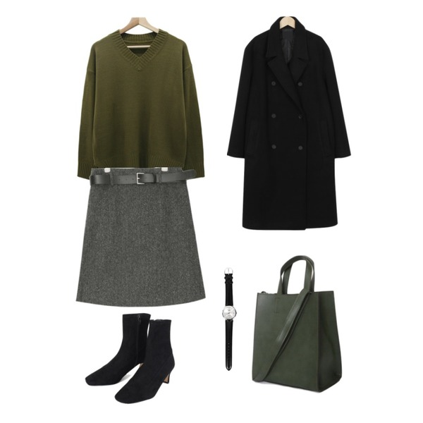AIN belt herringbone wool skirt (s, m),From Beginning Monica double padding coat_M (size : free)[24일 입고 후 순차적배송],HI RIT 클래식 긴팔 V넥니트등을 매치한 코디