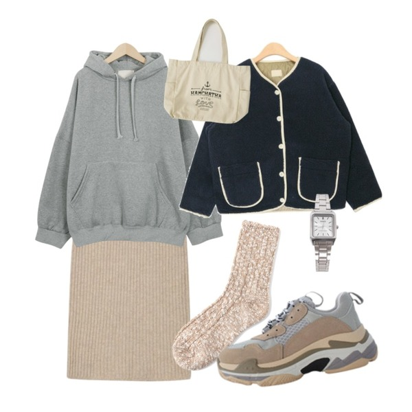 AIN mild wool knit skirt,From Beginning Easy napping hood mtm_P (size : free),AIN charming pocket button jumper등을 매치한 코디