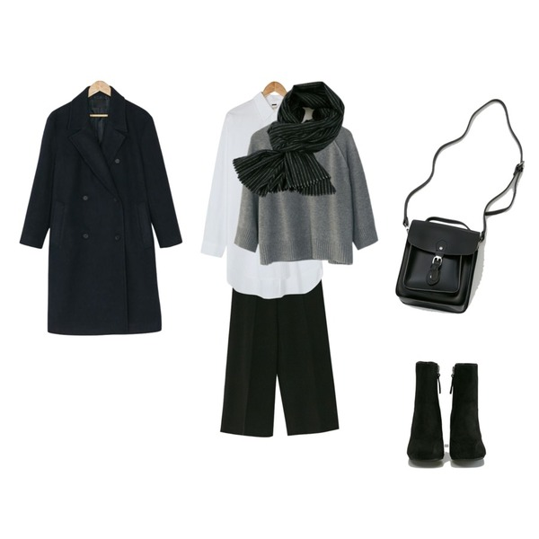 BANHARU wide straight banding pants,BANHARU gentle double button coat,BANHARU formal line ankle boots등을 매치한 코디