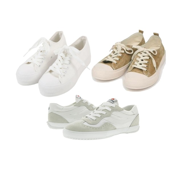 Player 수페르가 2832 나일론 화이트 (SUPERGA 2832-NYLU WHITE),AIN all day suede sneakers (230-250),MINIBBONG 슈팅 스니커즈등을 매치한 코디