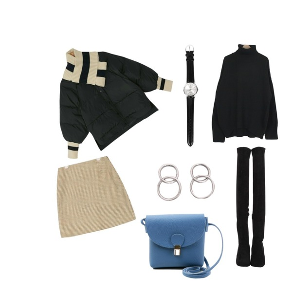 AIN tiny hound tooth check skirt (s, m),about moon 램스울 폴라니트 (4 color),BANHARU boxy fit warmer set padding jumper등을 매치한 코디