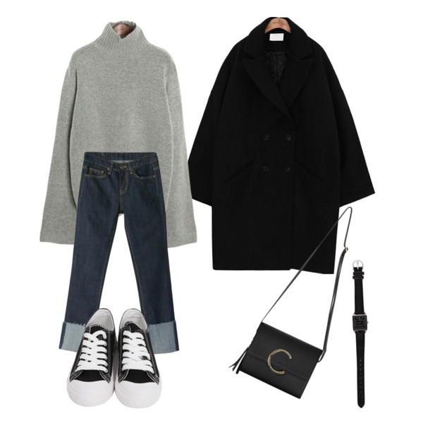 BANHARU cutting roll-up straight jean,common unique [OUTER] OVER FIT WOOL COAT,ROCOSIX warm tutle neck knit등을 매치한 코디
