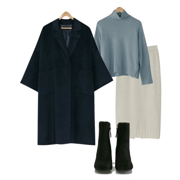 BANHARU hola knit & skirt set,BANHARU angora basic turtle knit,BANHARU formal line ankle boots등을 매치한 코디