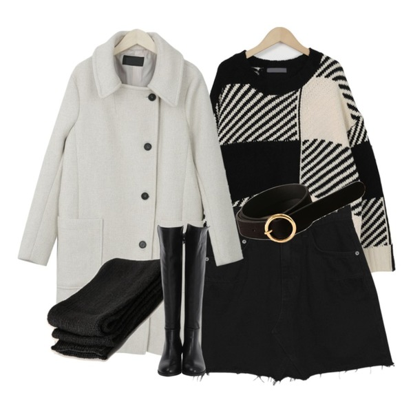 Reine 레오 스웨이드 써클 벨트,From Beginning Two-tone chess knit_H (size : free),From Beginning Damage cut black skirt_H (size : S,M)등을 매치한 코디