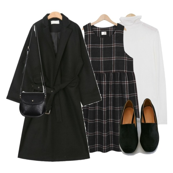 From Beginning Cut sheer pola T_M (size : free),From Beginning Maple check long ops_H (size : free),AIN glossy belt set wool coat등을 매치한 코디