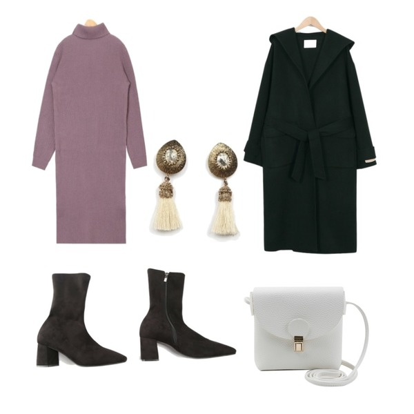 ROCOSIX square shape long ankle boots,From Beginning Hoody handmade coat_S (size : free),AIN most wool side slit knit ops등을 매치한 코디
