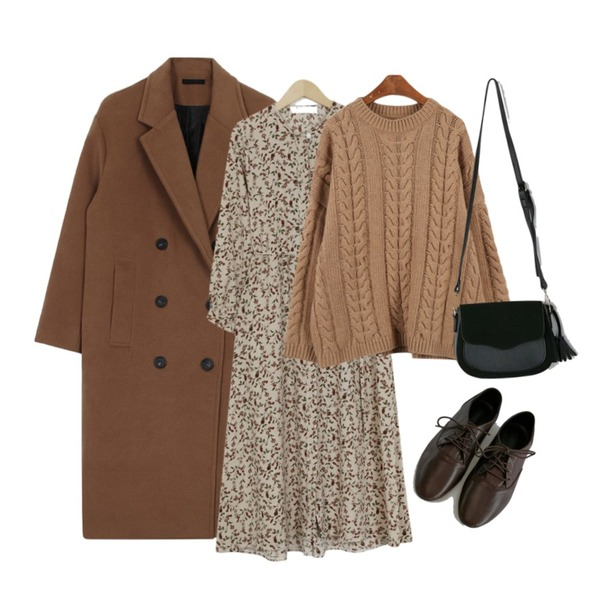 From Beginning Daisy floral long ops_M (size : free),BANHARU [real lether] soft cowhide loafer,biznshoe Oversize long coat등을 매치한 코디