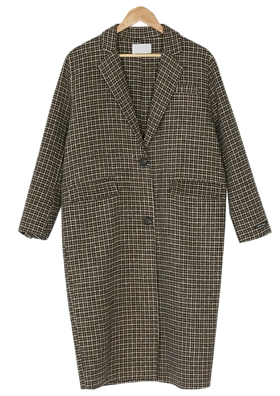 brown check long coat