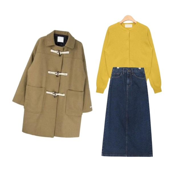 AIN round neck simple cardigan (5 colors),AIN behind long slit denim skirt (s, m, l),MIXXMIX 오버핏 롱 더플 코트등을 매치한 코디
