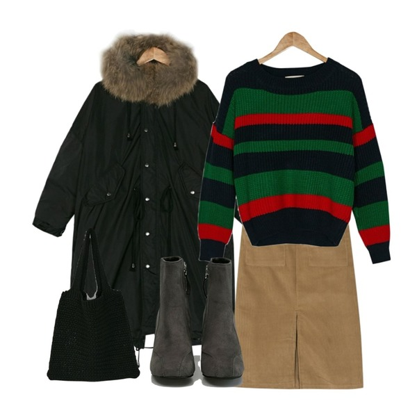 BANHARU corduroy pocket banding skirt,BANHARU real raccoon fur box fit padding,BANHARU deep color stripe knit등을 매치한 코디