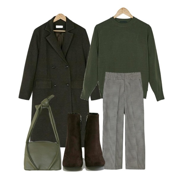 BANHARU hound tooth check slacks,BANHARU mood double long coat,BANHARU easy 7-colors basic knit등을 매치한 코디
