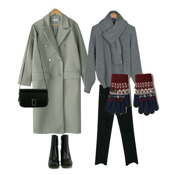BANHARU natural destroyed semi skinny,BANHARU drop shoulder muffler set knit,BANHARU classy double button coat등을 매치한 코디