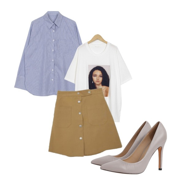 Zemma World Brownie-A라인스커트[size:44~66(밴딩) / 3color],From Beginning Janet picture T_S (size : free),biznshoe Thin stripe shirts (2color)등을 매치한 코디