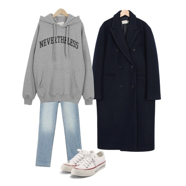 AIN wide natural denim pants (s, m),From Beginning Syrup double long coat_S (size : free),From Beginning Never nap hooody mtm_B (size : free)등을 매치한 코디