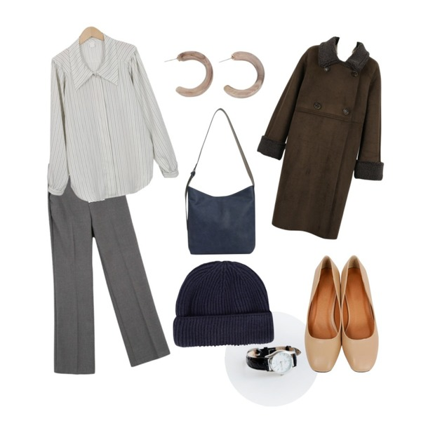 daily monday Line frame watch,From Beginning Swell wide collar blouse_K (size : free),MINIBBONG 타워 하이롱슬랙스등을 매치한 코디