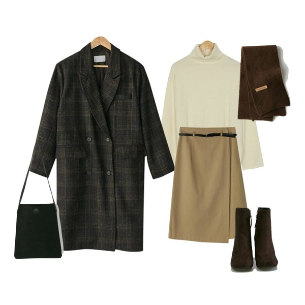BANHARU rozy belt wrap skirt,BANHARU soft texture turtle knit,BANHARU classic mood long check coat등을 매치한 코디