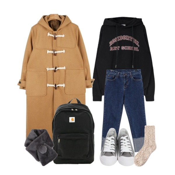 daily monday Long duffle wool coat,MIXXMIX ARCH LOGO hoodie,From Beginning Coin roll-up slim jean_B (size : S,M,L)등을 매치한 코디