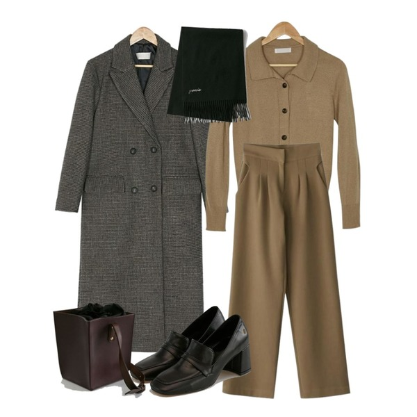 BANHARU collar knit short cardigan,BANHARU pintuck maxi slacks,BANHARU maxi check coat등을 매치한 코디