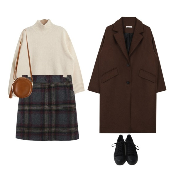 TODAY ME 어더비 니트,common unique [SKIRT] WARM CHECK SKIRT - 2 TYPE,biznshoe Loose fit two button coat (3color)등을 매치한 코디