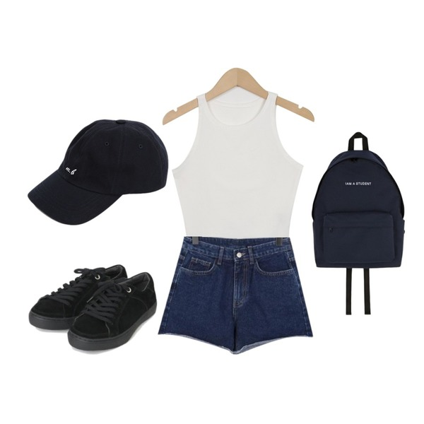 From Beginning Truck fringe denim shorts_K (size : S,M,L),From Beginning Crop cotton sleeveless top_K (size : free),From Beginning Birth work ball cap_K (size : one)등을 매치한 코디