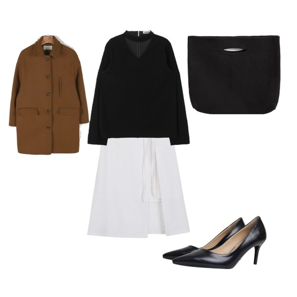 MIXXMIX ONLY MIX Secret choker blouse,From Beginning Made_bottom-123_mm 2way skirt (size : S,M),daily monday Soft color single coat등을 매치한 코디