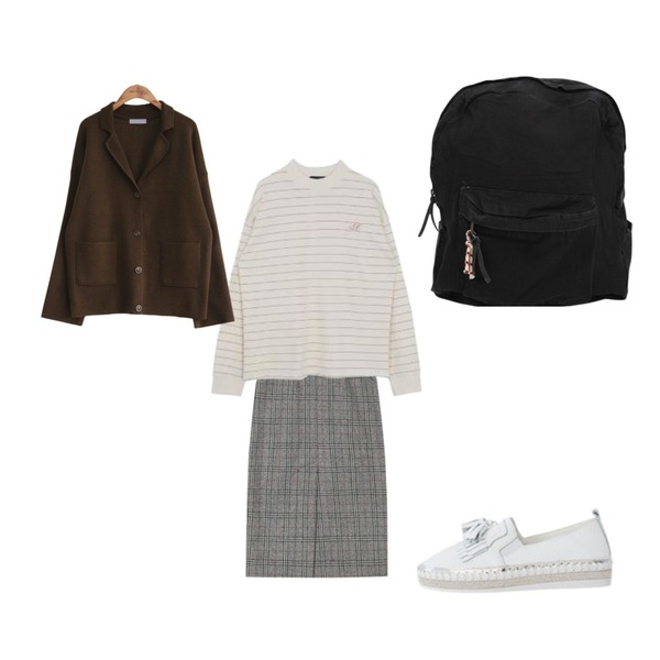 MIXXMIX Stripe Halfneck Loose Top,common unique [OUTER] COLLAR KNIT POCKET CARDIGAN,AIN mood check midi wool skirt (s, m)등을 매치한 코디