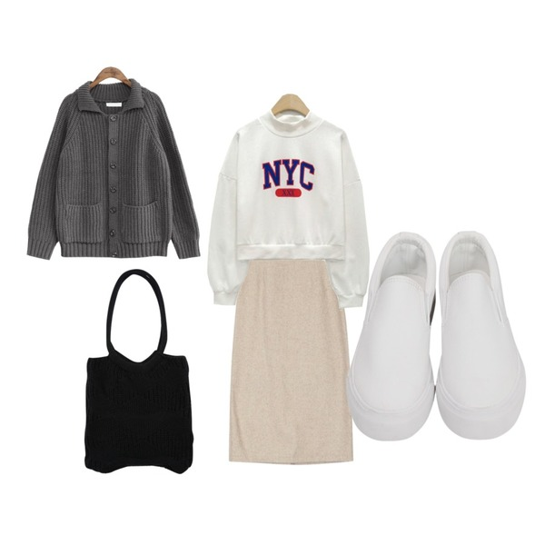 common unique [OUTER] WOOL KNIT COLLAR CARDIGAN,LINDA GIRLS NYC 크롭 맨투맨 (3color),AIN mood H-line wool skirt (s, m)등을 매치한 코디