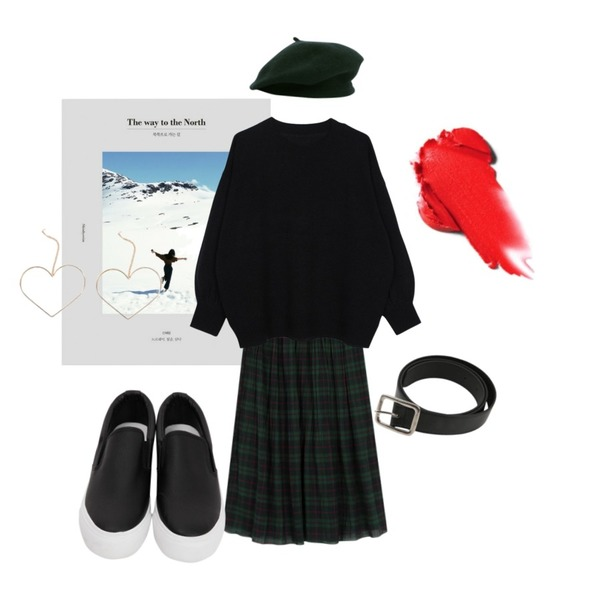 AIN The way to the North,From Beginning Wrinkle check banding skirt_K (size : free),biznshoe Balloon knit (3color)등을 매치한 코디