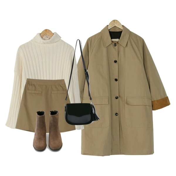 BANHARU minimal a-line banding skirt,BANHARU corduroy single coat,BANHARU natural fit turtleneck knit등을 매치한 코디