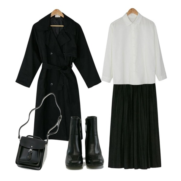BANHARU loose fit long trench coat,BANHARU long suede pleats skirt,BANHARU formal line ankle boots등을 매치한 코디