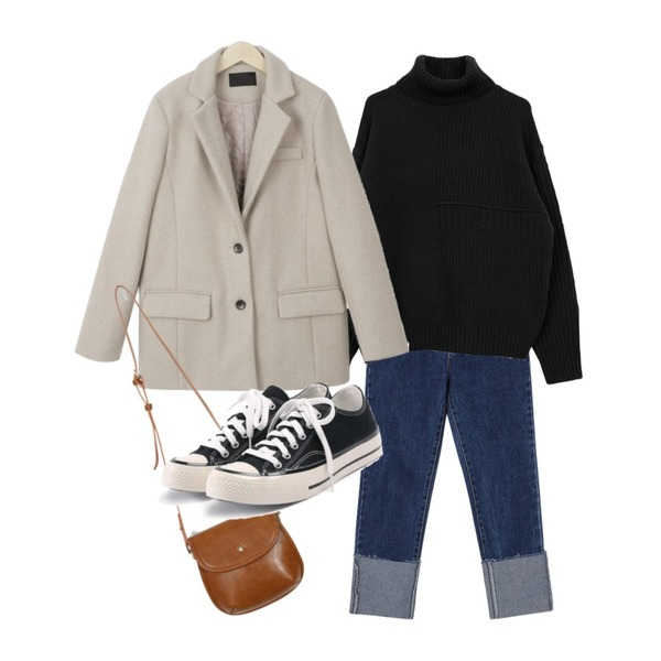 myblin 울 누빔 숏 코트 (4color),From Beginning Coin roll-up slim jean_B (size : S,M,L),biznshoe Wool turtle knit (4color)등을 매치한 코디