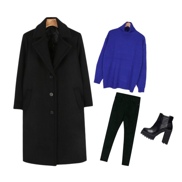 biznshoe Embossing ankle boots,daily monday Simple single button coat,BANHARU damage point skinny등을 매치한 코디