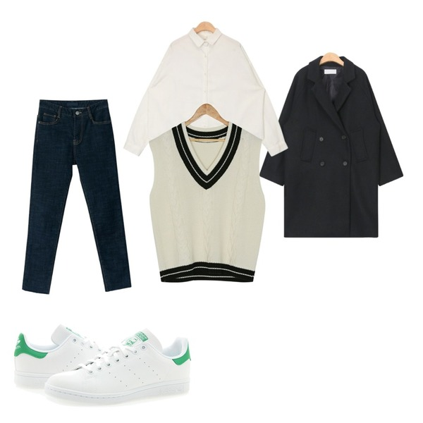 Player 아디다스 스탠 스미스 J 화이트 그린 (ADIDAS STAN SMITH J),BANHARU hem cutting easy semi skinny,AIN tomboy wear wool coat등을 매치한 코디