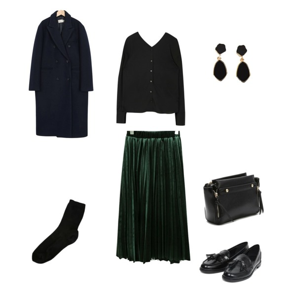 MIXXMIX 블로썸 블라우스,daily monday Velvet comfortable pleats skirt,From Beginning Syrup double long coat_S (size : free)등을 매치한 코디