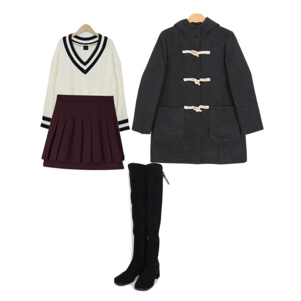 MIXXMIX double layered pleats skirt,AIN girlish ribbon long boots (225-250),From Beginning School lambswool knit_B (size : free)등을 매치한 코디