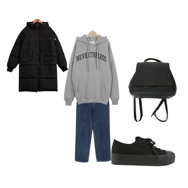 common unique [OUTER] OVER FIT LONG PADDING JUMPER,From Beginning Vintage blue denim pants_M (size : S,M),From Beginning Never nap hooody mtm_B (size : free)등을 매치한 코디