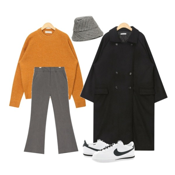 AIN like winter boots cut slacks (s, m),AIN cromy moody wool coat,AIN coloring wide alpaca knit등을 매치한 코디