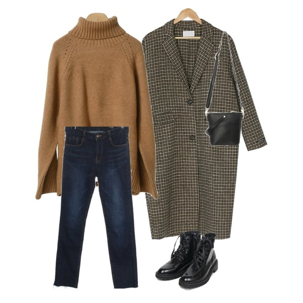 BANHARU [hand made] brown check long coat,ROCOSIX sind cut denim pants (napping),OBBANG STYLE 아디오스폴라니트등을 매치한 코디