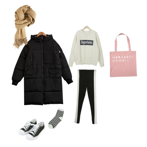 common unique [OUTER] OVER FIT LONG PADDING JUMPER,myblin 포근포근 기모 맨투맨 (4color),ROCOSIX dolphin leggings등을 매치한 코디