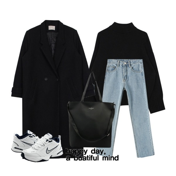 biznshoe Basic half neck knit (4color),Reine 루디스 보이핏 컷팅 데님,biznshoe Mans wear double coat (3color)등을 매치한 코디
