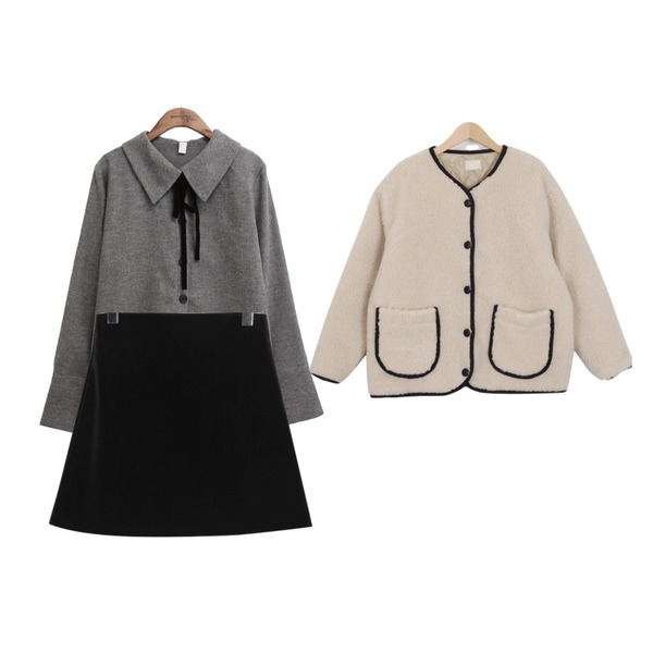 common unique [TOP] BUTTER VELVET TIE BLOUSE,From Beginning Velvet minimal skirt_M (size : S,M),From Beginning Bread dumble jumper_B (size : free)등을 매치한 코디