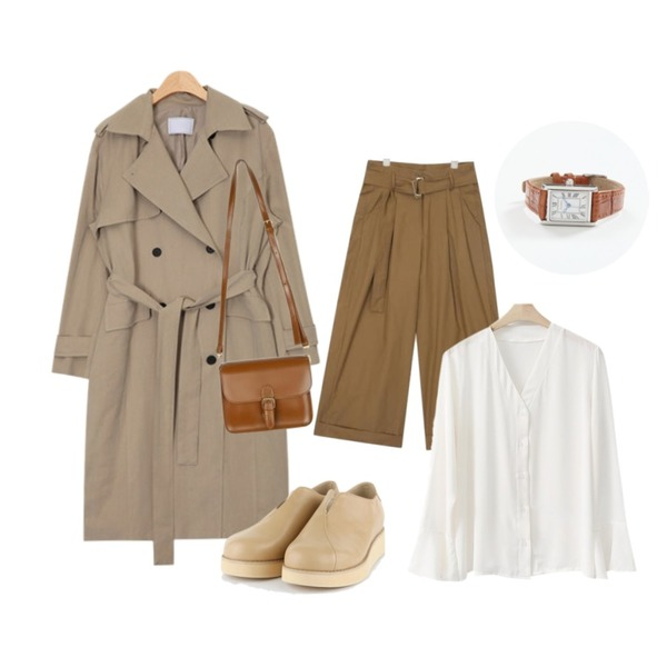 LINDA GIRLS 바인 브이넥 블라우스 (3color),AIN french mood trench coat (2 colors),AIN dry cotton folding wide pants (s, m)등을 매치한 코디