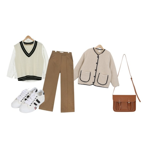 From Beginning Science satchel bag_H (size : one),IHRER SHAPE Autumn NB IVORY,From Beginning Bread dumble jumper_B (size : free)등을 매치한 코디