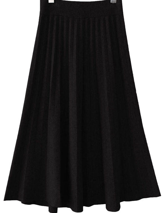 KNIT PLEATS MIDI SKIRT