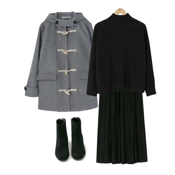 BANHARU long suede pleats skirt,MIXXMIX 소프트 더플코트(누빔),BANHARU half-neck basic knit등을 매치한 코디