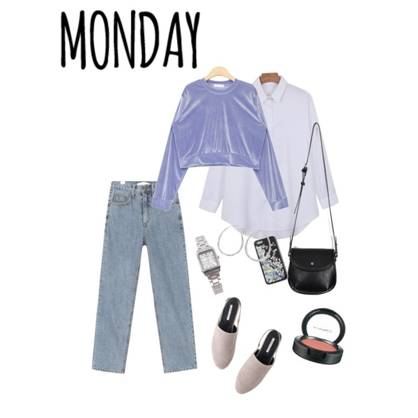 daily monday Daily formal shirt,AIN mellow washing denim pants (s, m),AIN mimi velvet mtm등을 매치한 코디