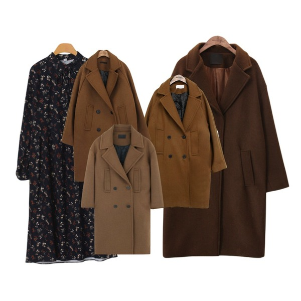 common unique [OUTER] WOOL CLASSIC DOUBLE COAT ,OBBANG STYLE 스트롭플라워원피스,common unique [OUTER] MAIN WOOL SINGLE COAT등을 매치한 코디
