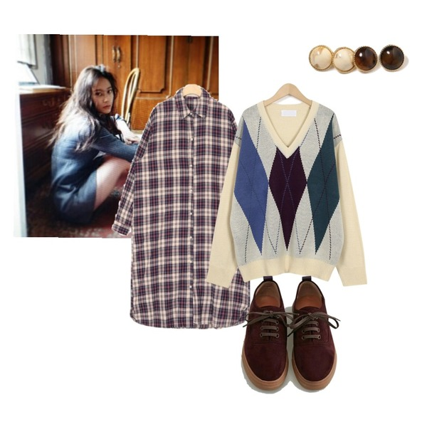 +-,From Beginning Low argyle boxy knit_S (size : free),AIN attention check shirts ops등을 매치한 코디