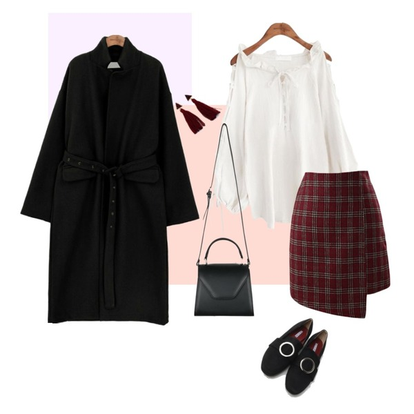 Magenta ,Peach,common unique [OUTER] WOOL EYELET STRAP LONG COAT등을 매치한 코디