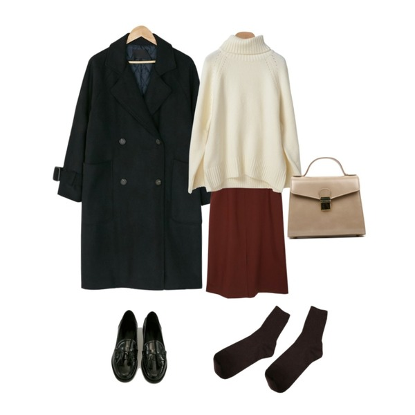 Zemma World Most-롱스커트[size:S,M / 3color],OBBANG STYLE 아디오스폴라니트,BANHARU double button loose fit trench coat등을 매치한 코디